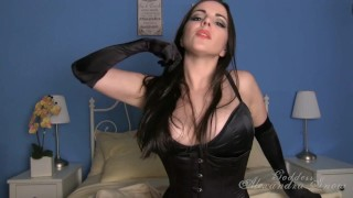 Black satin joi boobs lingerie