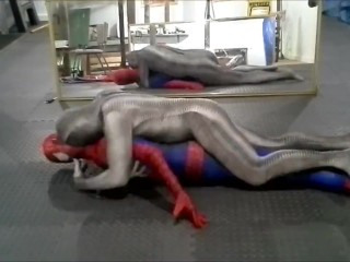 zentai croc humps his spiderman dummy