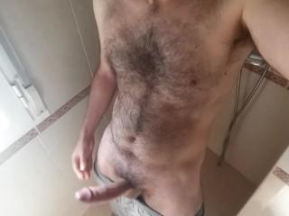 Horny hairy guy cumming hard while moaning