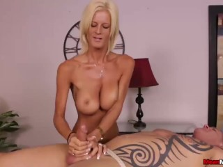 Blonde lady domination handjob