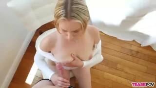 Pov blowjob bimbo blonde tits of