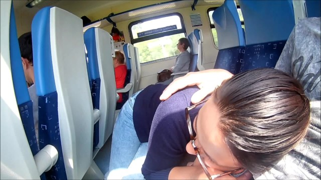 Cum magic Extreme in train : public blowjob and cum in mouth