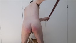 Hairy daddy spanked first time (leather belt, wood, metal) ends in soft cum