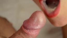 Blowjob close up, cum in mouth