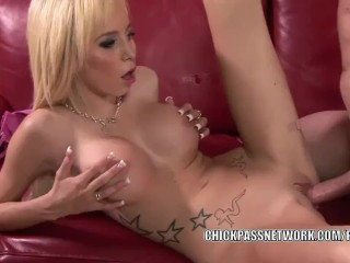 Petite hottie Morgan Layne takes a cock in her tight twat