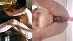 Both holes filled, straight hairy guy fucked hard - great split screen solo