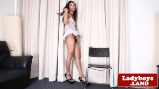 Solo asian tgirl sensually pulling hard cock