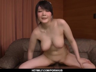 Couch fucking extreme with busty milf Rie Tachikawa