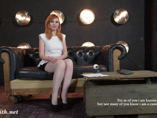 Pantyhose upskirt flashing while real camera review clip by Jeny Smith