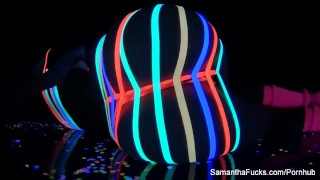 Colorful blacklight teasing with Samantha Saint