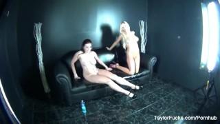 Behind the scenes with pornstars Taylor and Tasha