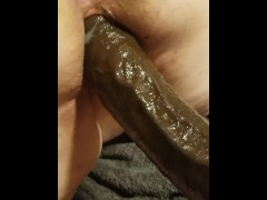 My BBW pussy creaming on a huge dildo