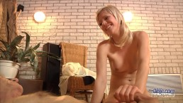 Sexy Teen gives happy ending massage for old man and swallows his cum