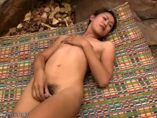 Ladyboy with tiny tits goes nude and jerks off till cumshot
