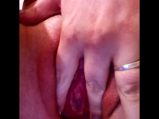 Flashing and teasing trimmed pussy and clit after intense masturbation