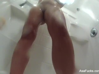 Asa Akira records herself taking a shower