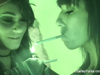 Charley Chase and Alia Janine are smoking bathtub lesbians