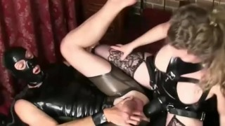 ass fuck mom mother kink latex femdom mistress anal strapon strapon guy fetish heels boots milf mature redhead