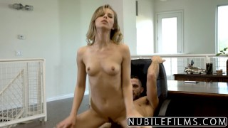 Stepsiblingscaught lil sis rides big cock while bff watches 4