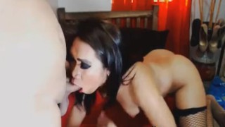 Two Seductive Tranny Babe Sucking Each Other
