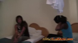 Amateur African lesbos eating shaved pussies