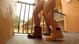 TwoLongHorns Motel Stairwell Fuck Risky Public Bareback Construction Boots