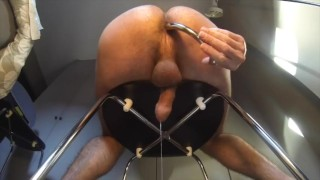 Milking my prostate with a big metal dildo (Njoy purewand)