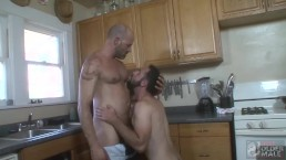 Hot Daddy Plumber Dave Rex Cleans Anthony Naxos' Pipes with His Hard Cock