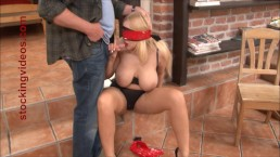 Tied up panty slut Angel Wicky giving a blow job
