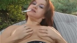 SMOKING ALHANA - Outside Topless Dangles - Bonus Inside Nude Intro Play