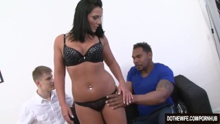 Cuckold Licks Pussy While a Black Anals His Wife  ass fuck vaginal sex lulu jung cuckold couple wife blowjob dothewife hardcore interracial brunette housewife pussy licking