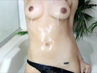Young Sexy Girl Bathing in Milk!