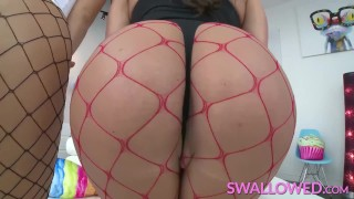 SWALLOWED Abigail and Eva Lovia deepthroating fat pole Her while