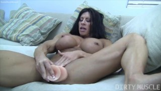 Preview 4 of Naked Female Bodybuilder Angela Salvagno Fucks Herself