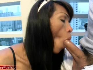 Asian TS gives handjob in POV and masturbates till cumshot