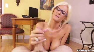 Horny employer POV handjob porno