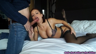 Escort gets plowed, client empties his nuts on her face...and the wall Rubbing tits