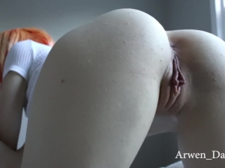 Shaved pussy deep throat