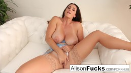 Stacked beauty pounds her pussy to a wet completion