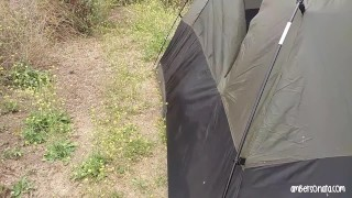 Caught Fucking Hard In Friends Tent Camping She blowjob