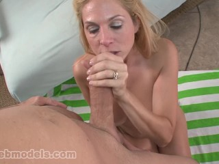 Busty Big Tit MILF Cougar ANGELA ATTISON Blows Huge Cock for Cum Load!