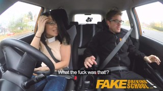 Fake Driving School wild ride for petite british Asian with glasses  car sex sex in car doggy style british porn big cock glasses small asian blowjob petite cum shot instructor oral sex fds fakedrivingschool humour funny driving school