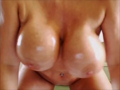 Pouring oil over my naked body big tits and big ass