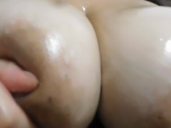 Solo Boobs Oil Massage and Slapping Close Up