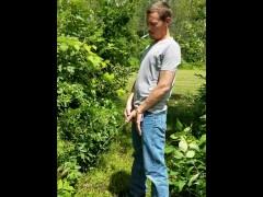 Man peeing in nature!