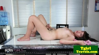 Soapy tgirl jerking in solo session