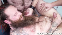 Hairy hippie barebacked and jizzed