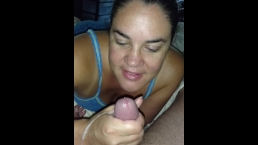 Husband loving his morning blowjob-with teasing cumshots!