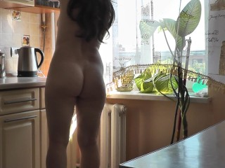 Dad and step daughter. Blowjob for mom lover when mom is away. Home nudists