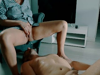 Preview 4 of How to Pleasure a Woman. Piss and Squirting orgasm on his face.